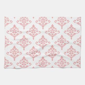 Cresta Damask Pattern (B) Pink Tea Towel