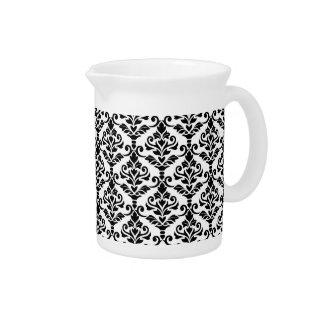 Cresta Damask Pattern Black on White Beverage Pitchers