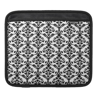 Cresta Damask Pattern Black on White iPad Sleeve