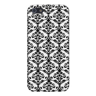 Cresta Damask Pattern Black on White iPhone 5 Cover