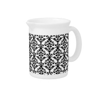 Cresta Damask Pattern Black on White Pitcher