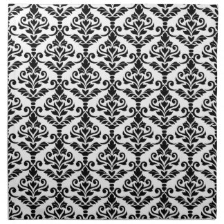 Cresta Damask Pattern Black on White Printed Napkins