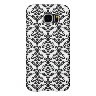 Cresta Damask Pattern Black on White Samsung Galaxy S6 Cases