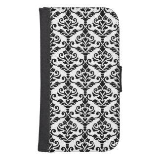 Cresta Damask Pattern Black on White Samsung S4 Wallet Case