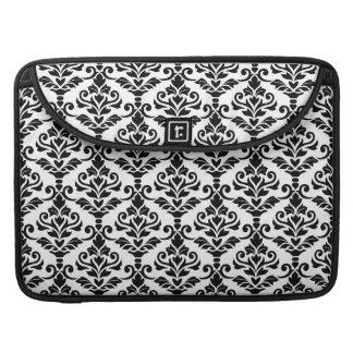 Cresta Damask Pattern Black on White Sleeve For MacBook Pro