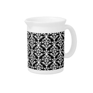 Cresta Damask Pattern White on Black Pitcher