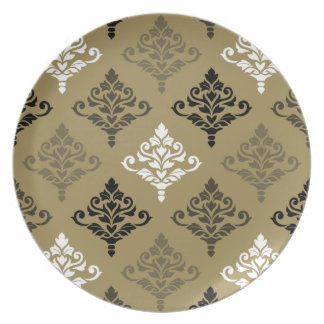 Cresta Damask Ptn Black White Bronzes Gold Dinner Plates