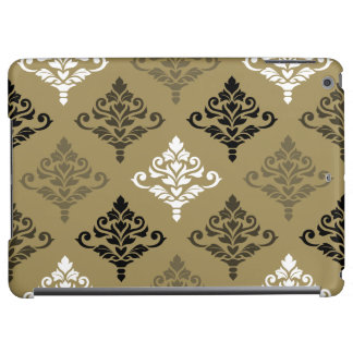 Cresta Damask Ptn Black White Bronzes Gold iPad Air Case