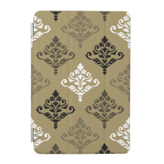Cresta Damask Ptn Black White Bronzes Gold iPad Mini Cover