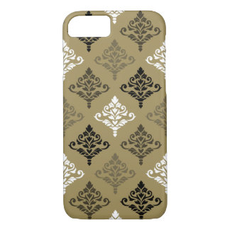 Cresta Damask Ptn Black White Bronzes Gold iPhone 7 Case