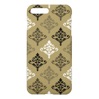 Cresta Damask Ptn Black White Bronzes Gold iPhone 7 Plus Case