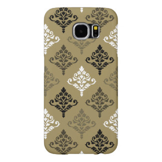 Cresta Damask Ptn Black White Bronzes Gold Samsung Galaxy S6 Cases