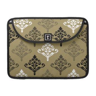 Cresta Damask Ptn Black White Bronzes Gold Sleeve For MacBook Pro
