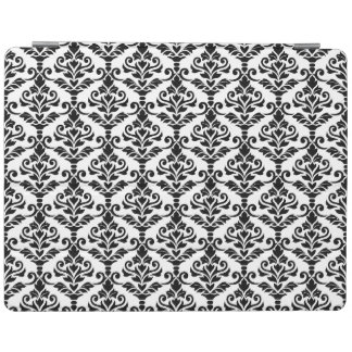 Cresta Damask Repeat Pattern Black on White iPad Cover