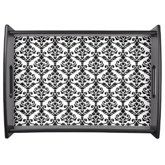 Cresta Damask Repeat Pattern Black on White Serving Tray