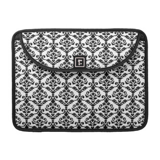 Cresta Damask Repeat Pattern Black on White Sleeve For MacBooks