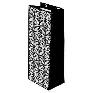Cresta Damask Repeat Pattern Black on White Wine Gift Bag