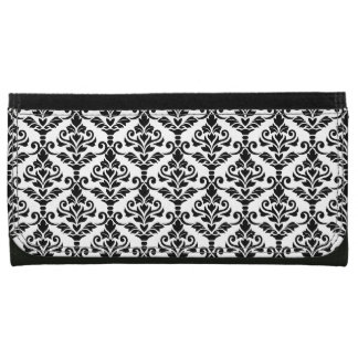 Cresta Damask Small Pattern Black on White Wallet For Women