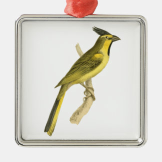 Crested Bunting Bird Illustration by William Swain Silver-Colored Square Decoration