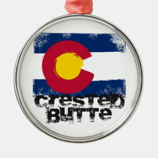 Crested Butte Grunge Flag Christmas Ornament