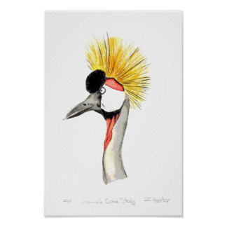 Crested Crane Poster