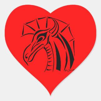 Crested Dragon Sticker Heart