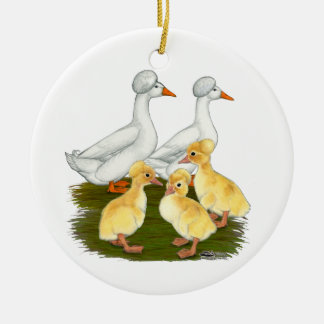 Crested Duck Family Christmas Ornament