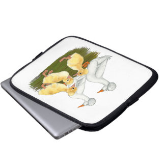 Crested Duck Family Laptop Computer Sleeve
