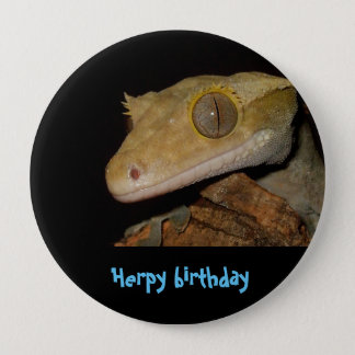 Crested gecko 10 cm round badge