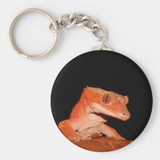 crested gecko basic round button key ring