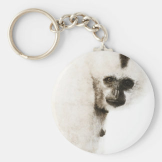 Crested Gibbon #1 Basic Round Button Key Ring