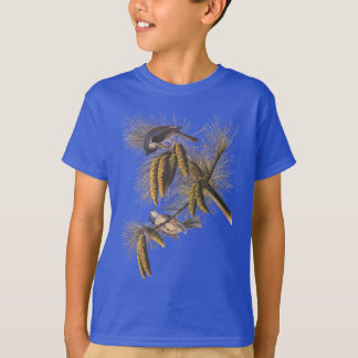 Crested Titmouse Audubon Birds with Pinecones T-Shirt