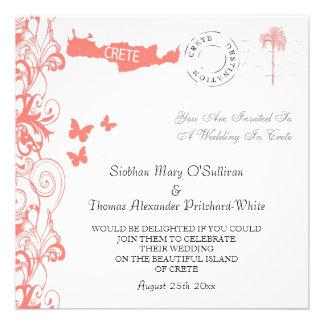 Crete Wedding Invitation In Coral Pink And White