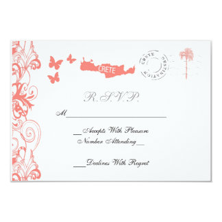 Crete Wedding RSVP Card In Coral Pink And White