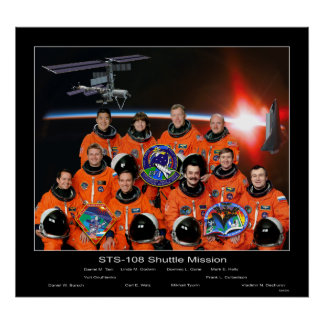 Crew of the STS-108 Shuttle Mission with ISS Crew Poster