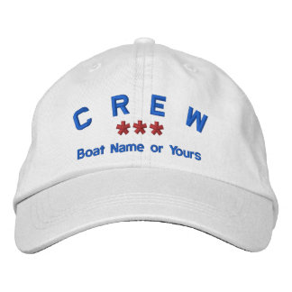 CREW Personalized Name Custom WHITE RED BLUE Embroidered Baseball Caps