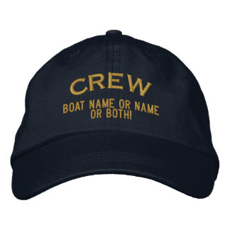 CREW Your Boat Name Your Name or Both! Embroidered Baseball Cap
