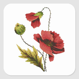 Crewel Embroidery Red Poppy Square Sticker