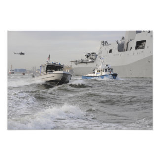 Crews from the coast guard and police departmen photo print