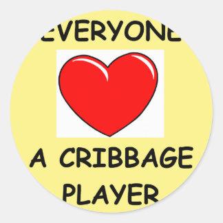 cribbage classic round sticker
