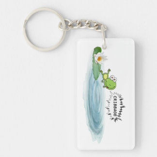 Cribbage Frog Single-Sided Rectangular Acrylic Key Ring