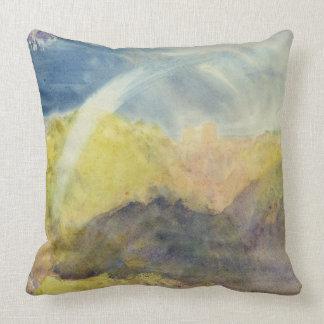Crichton Castle Mountainous Landscape with a Rain Throw Pillow