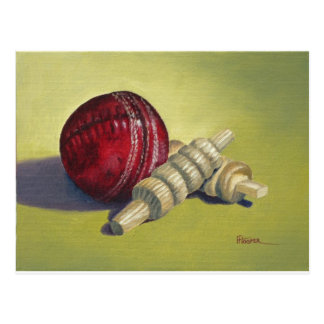 Cricket Ball and Bails Postcard