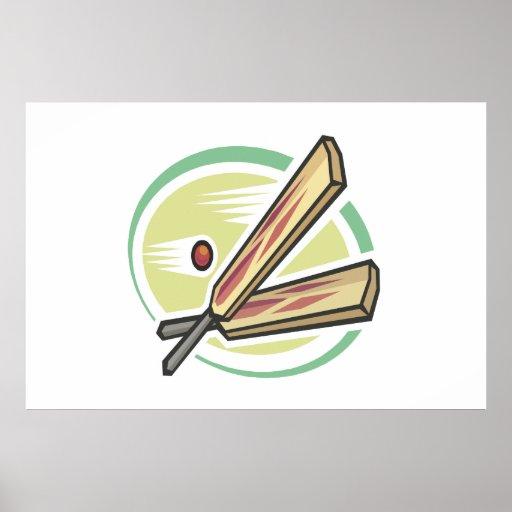 Cricket Ball And Bat Poster