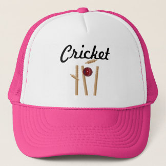 Cricket Ball And Stumps Logo, Trucker Hat