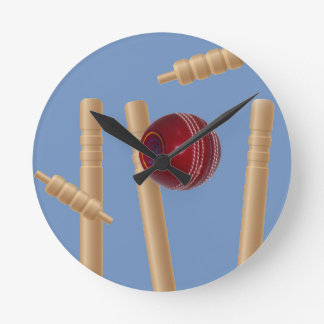 Cricket Ball And Stumps, Round Clock