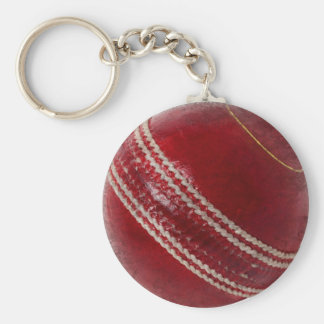 CRICKET BALL BASIC ROUND BUTTON KEY RING