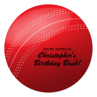 Cricket Ball Birthday Party 5.25x5.25 Square Paper Invitation Card