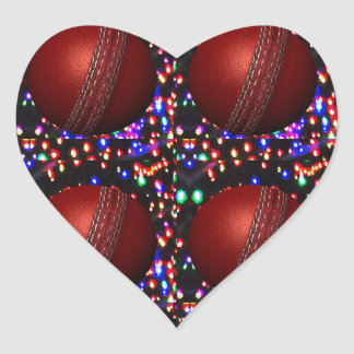 Cricket Ball Game Player Bowler Wicket Keeper Bat Heart Stickers