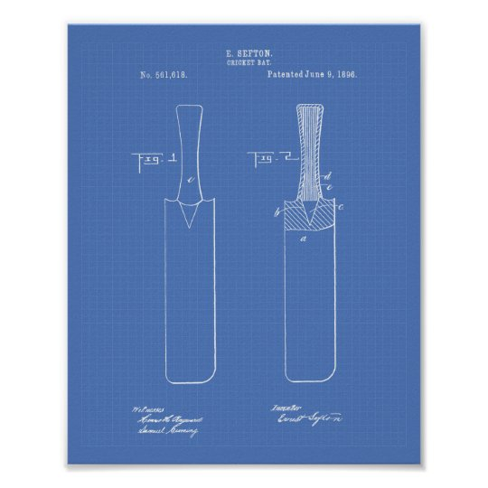 Cricket Bat 1886 Patent Art Blueprint Poster
